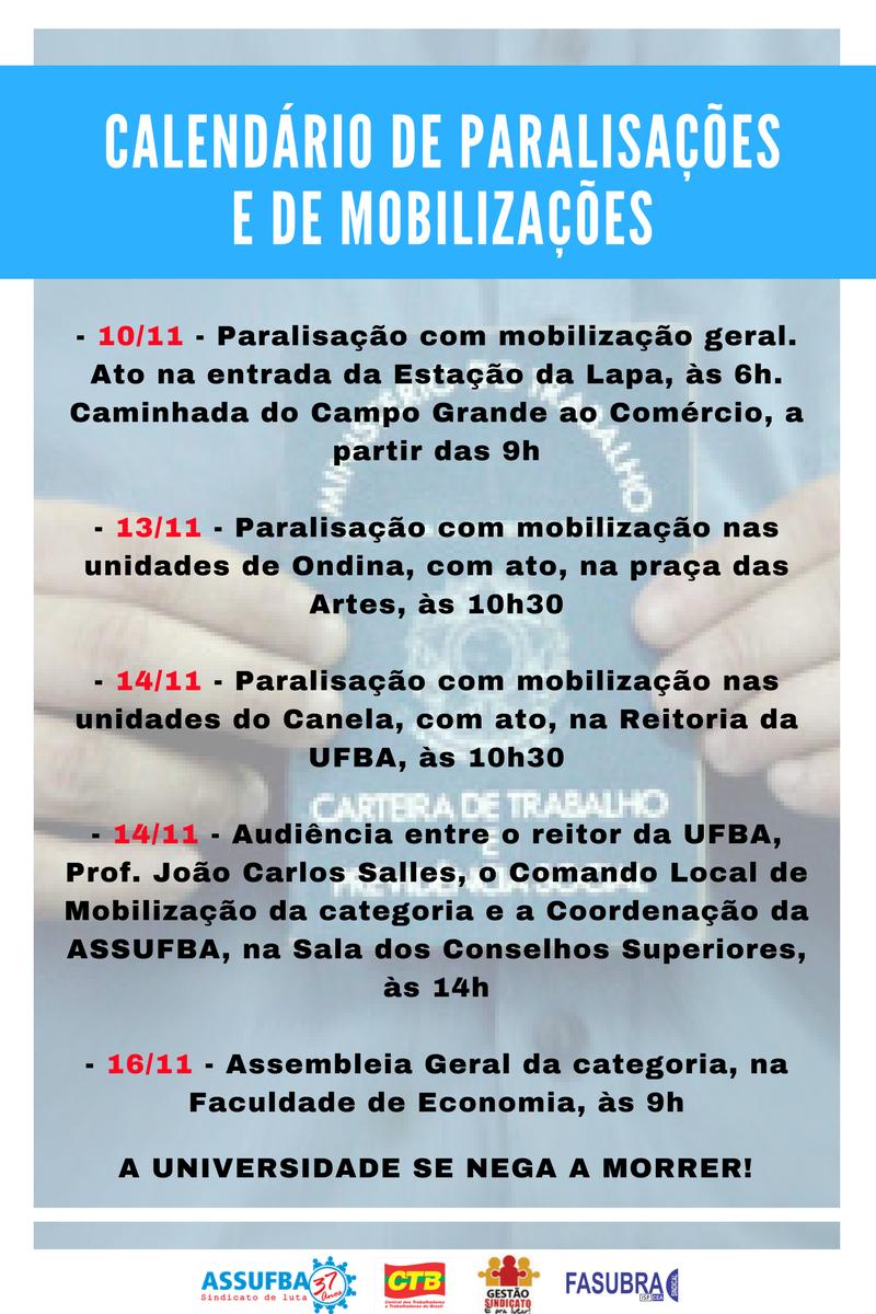 CALENDÁRIO DE MOBILIZAÇÕES